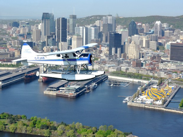 Seaplane over Montreal old port