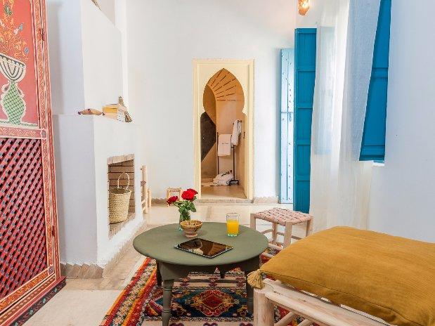 accès salle d'eau chambre double supérieure riad chamali médina marrakech Maroc
