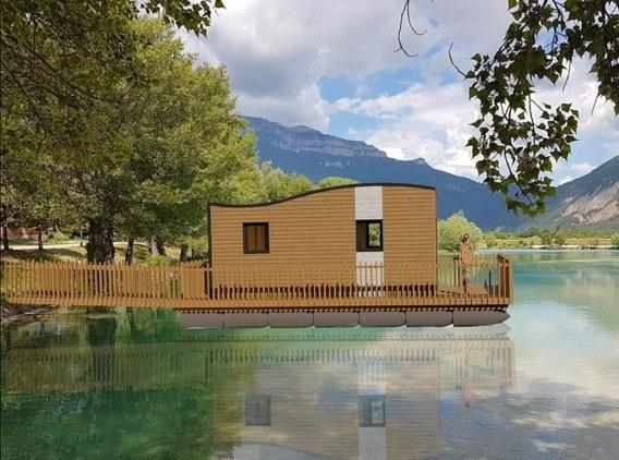 ilot bleu sur la berge camping vercors drome piscine chauffée lac