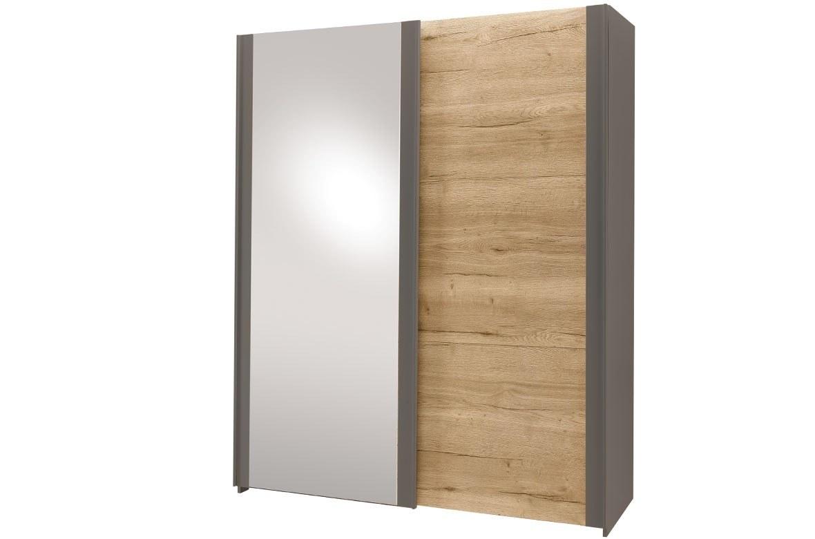 Chambre Adulte Armoire porte coulissante miroir chêne claire noir