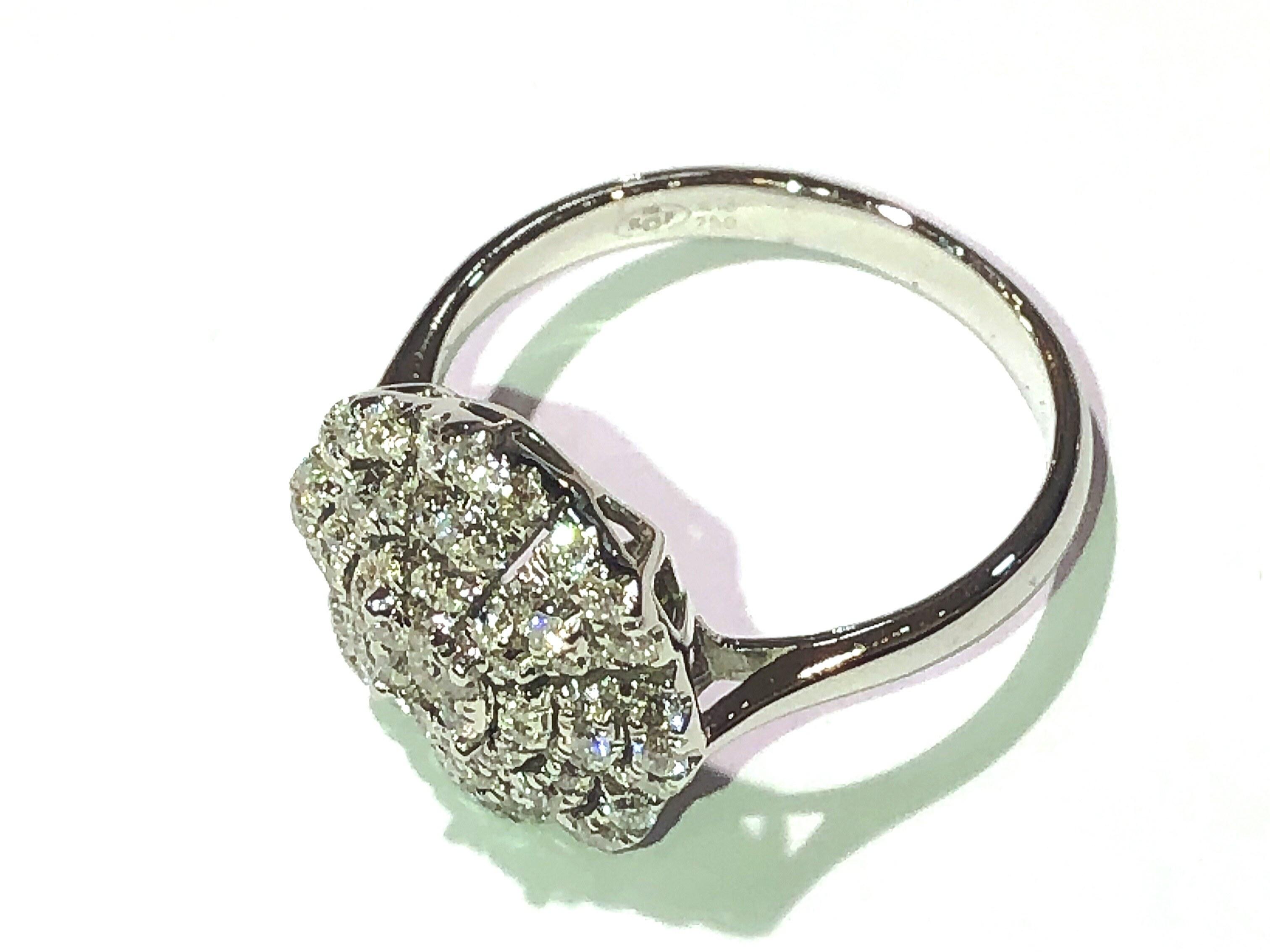 manjo Bague palace or blanc 750 diamant ronde