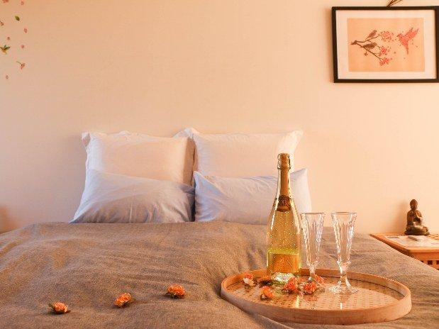 champagne et lit