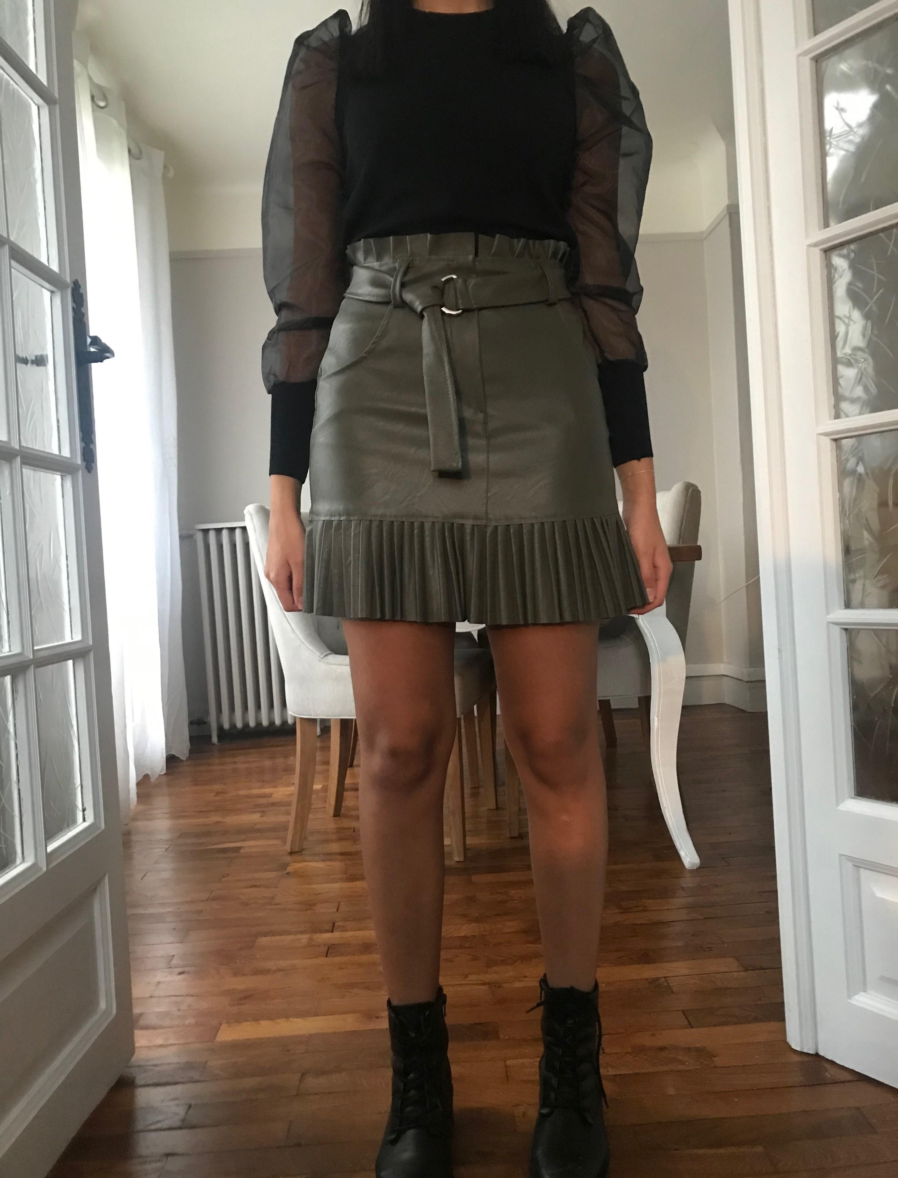 mini jupe à volant plissés