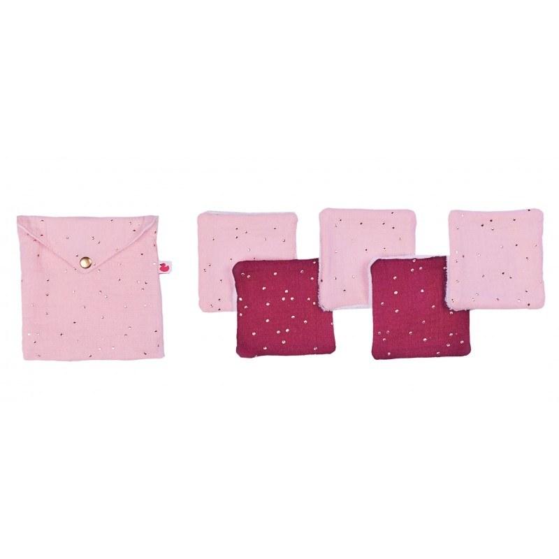 lingettes-lavables-pochette-assortie-blush-prune-pois-or-bbco
