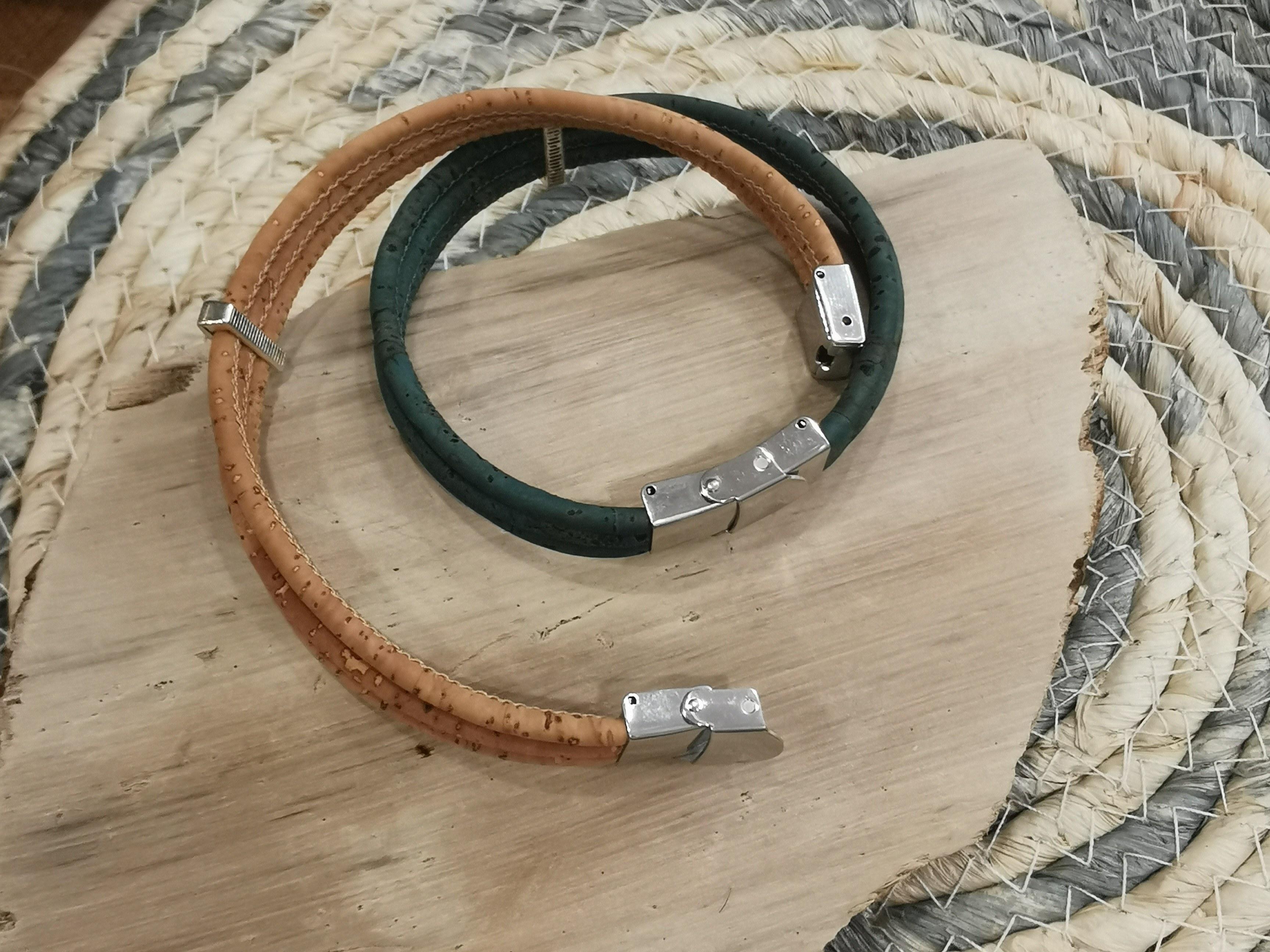 bracelet en liège fermoir ajustable 2 couleurs d'hélène