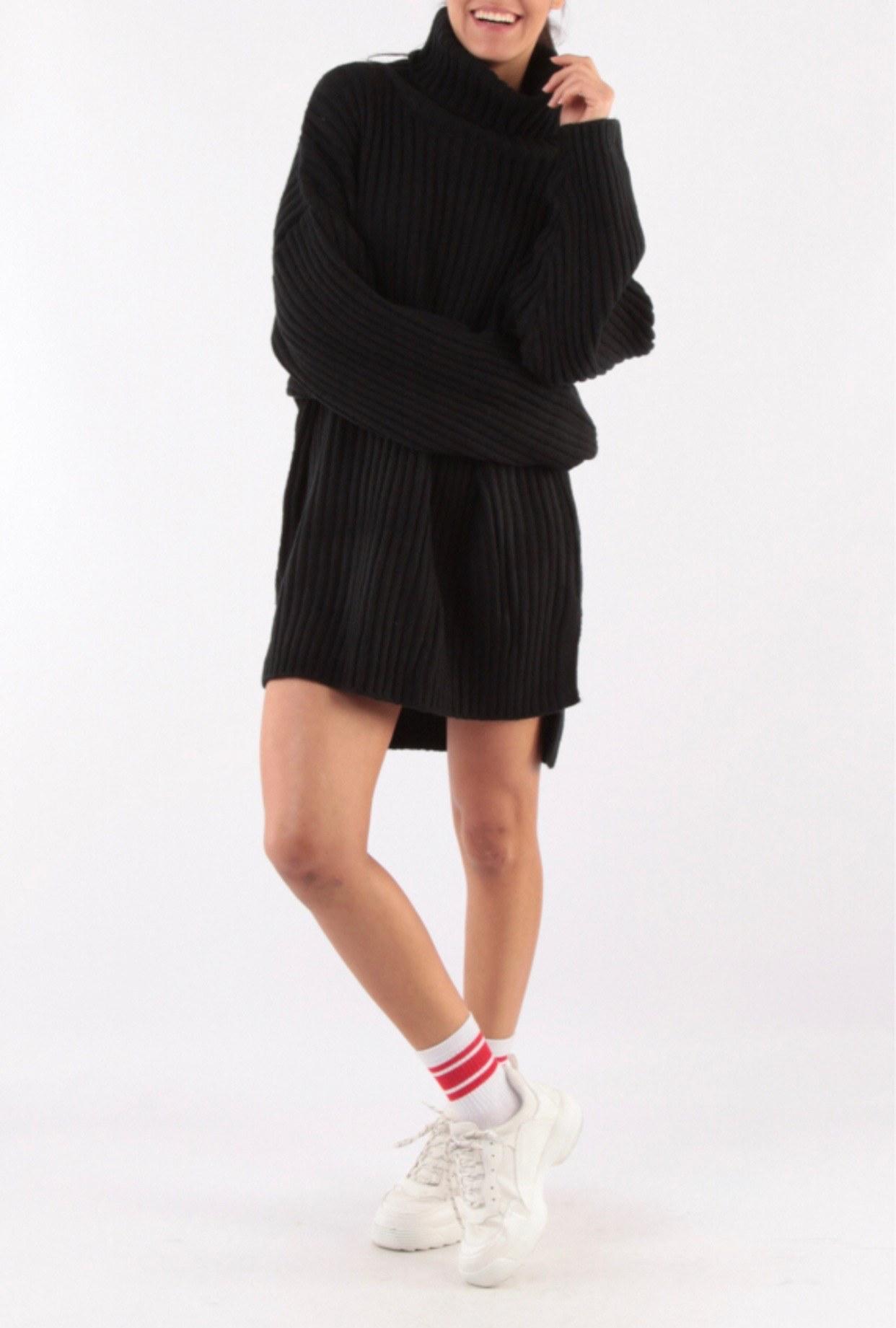 pull robe en maille noir