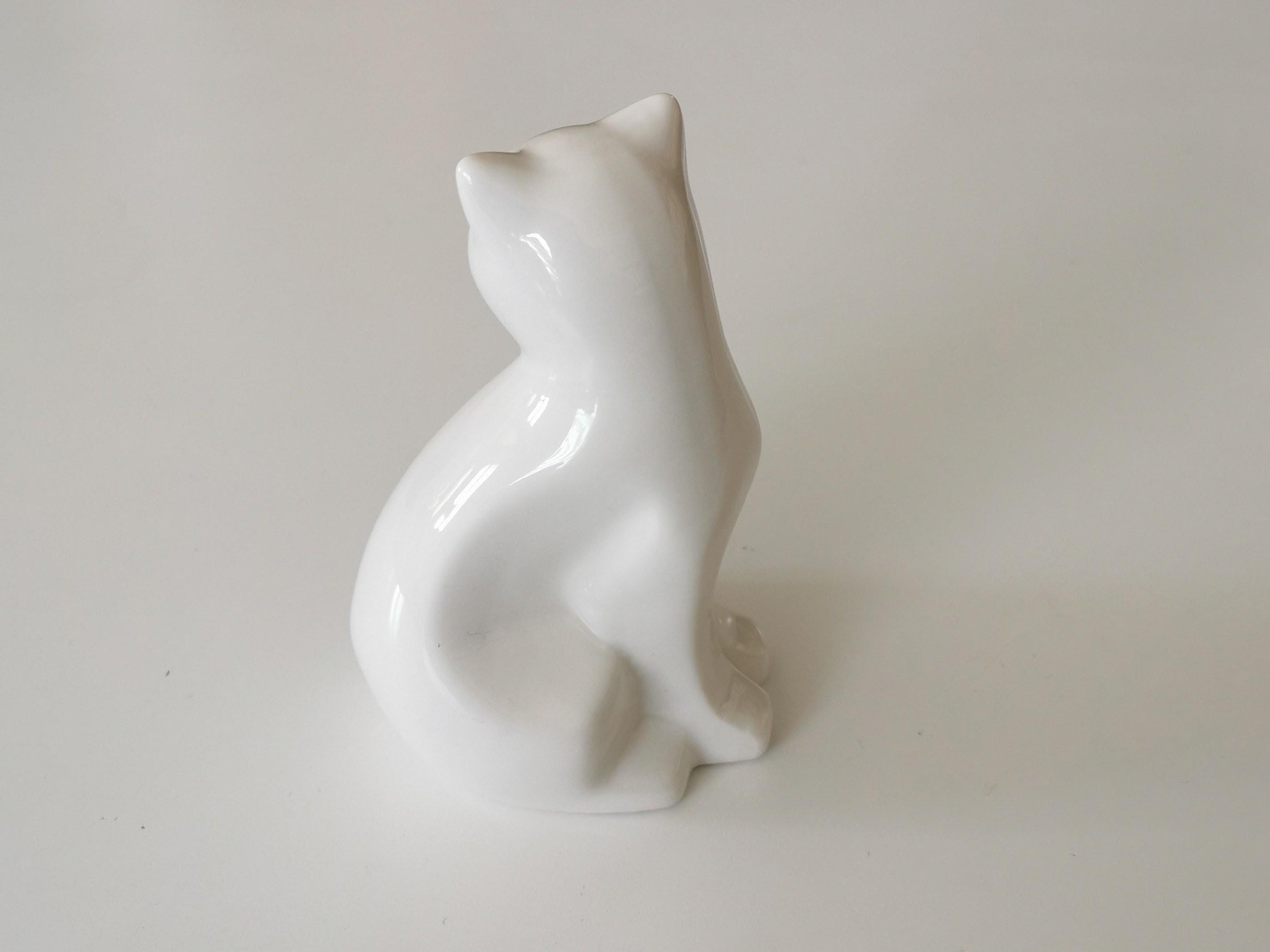 statuette-chat-blanc-et-or-couleurs d'Hélène