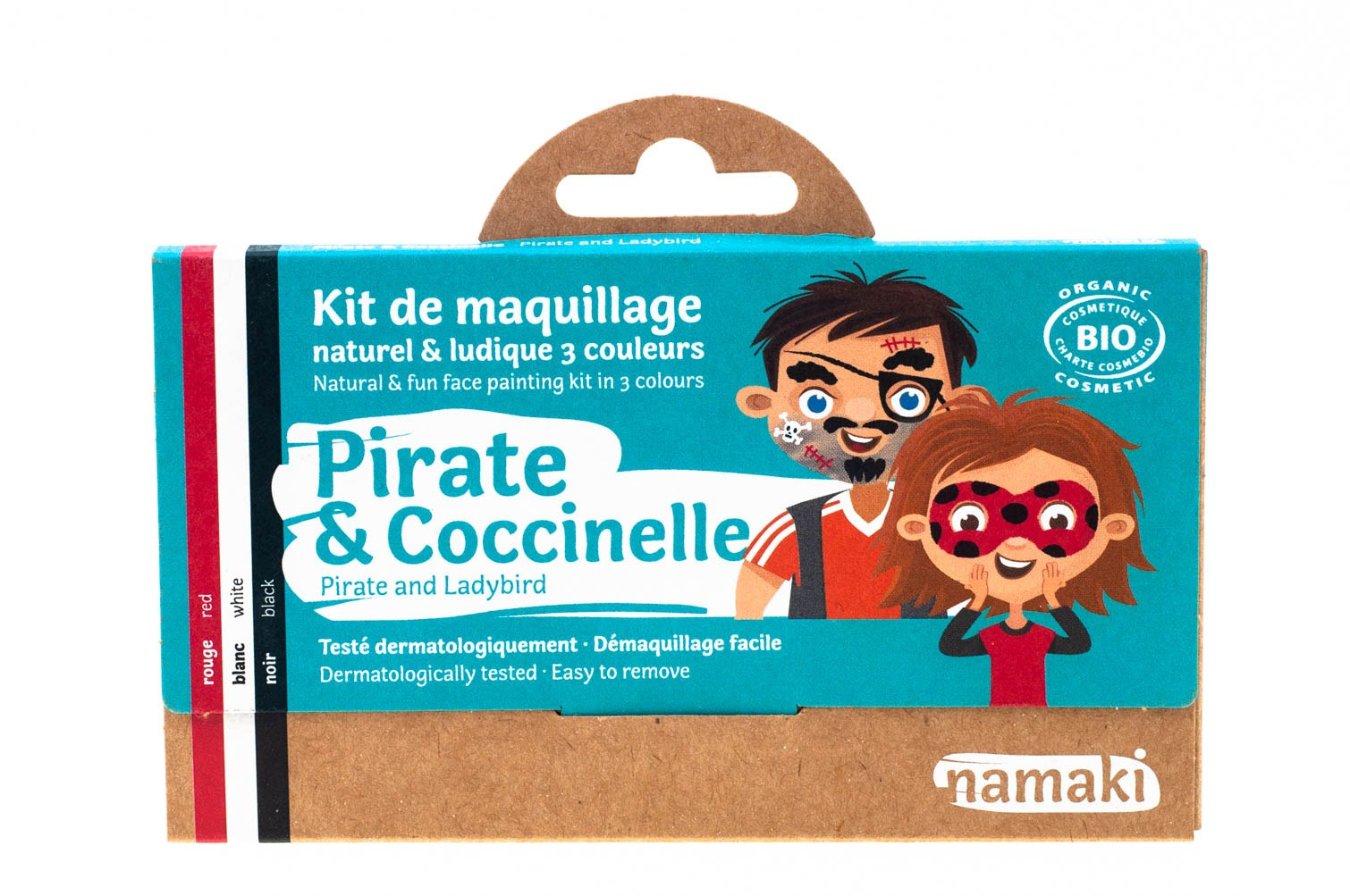 kit de maquillage bio Namaki 3 couleurs Pirate & Coccinelle - vue face
