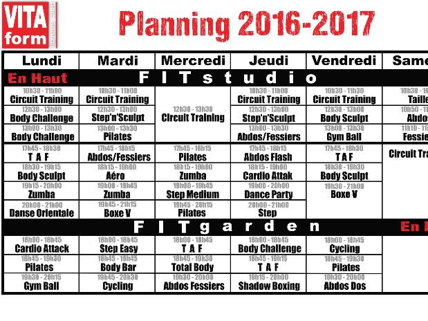 Planning VITAform 2016-2017