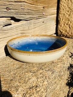0052  Assiette grès ecuelle creuse blanche bleue