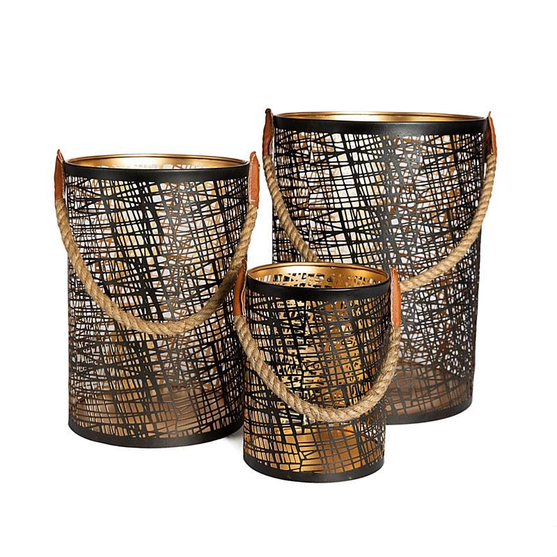 Lot de 3 lanternes noires et gold