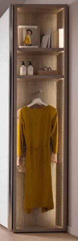Chambre Adulte Armoire porte coulissante miroir Blanc Chêne