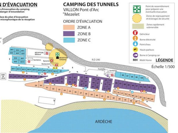 plan évacuation Camping Ardèche