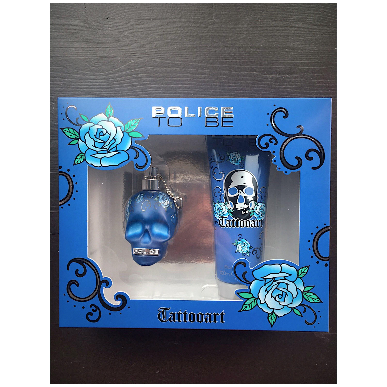 Police tatoo art bleu