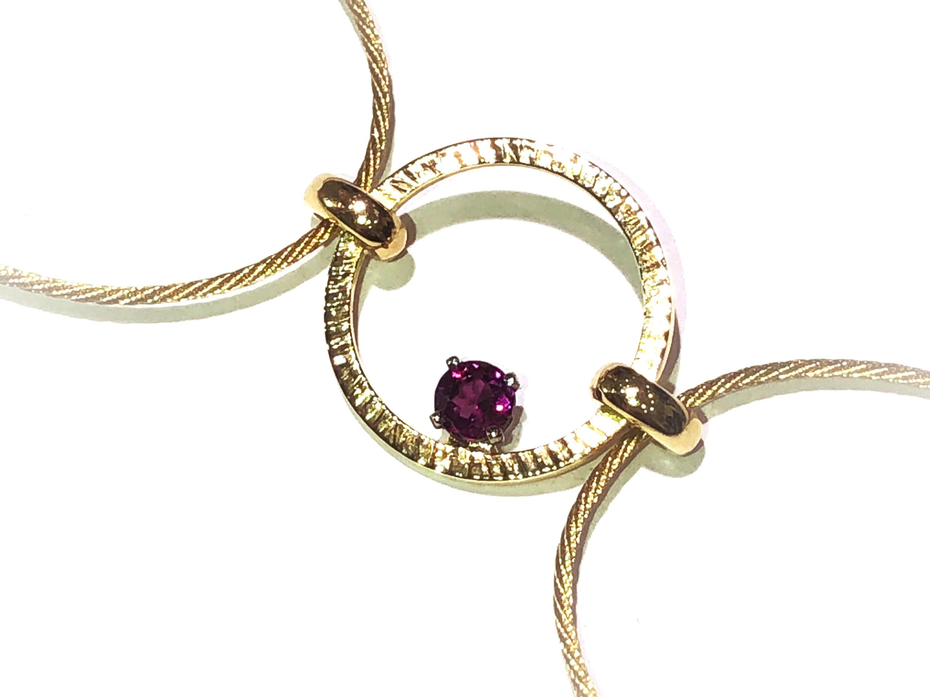 manjo bracelet or jaune 750 Grenat