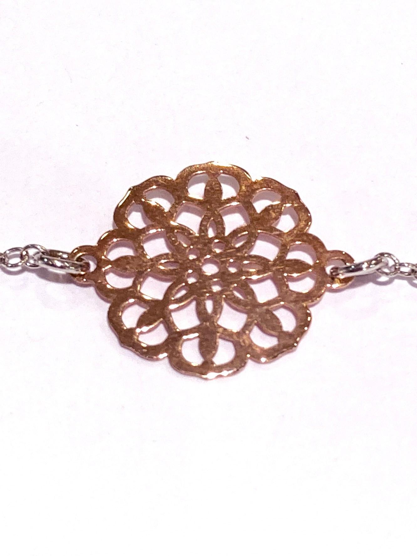 Manjo bracelet argent 925 bicolor Rosace