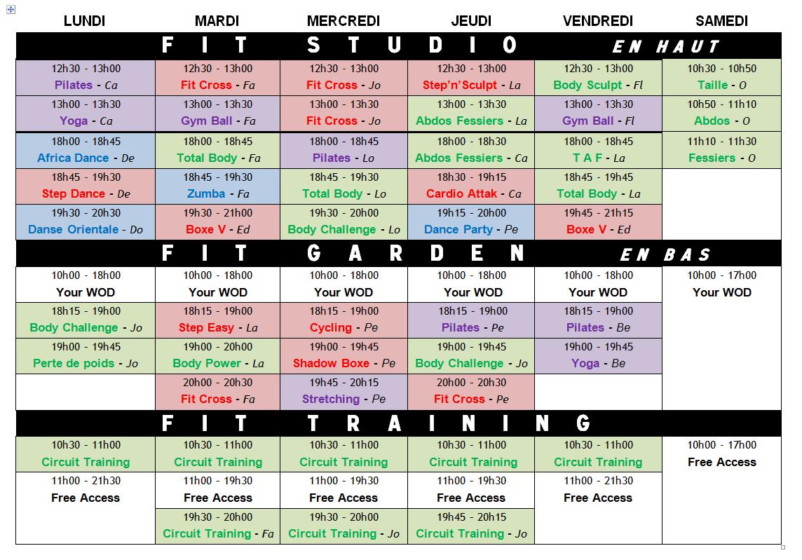 Planning Cours Collectifs Fitness Club De Vitaform Fitness Club