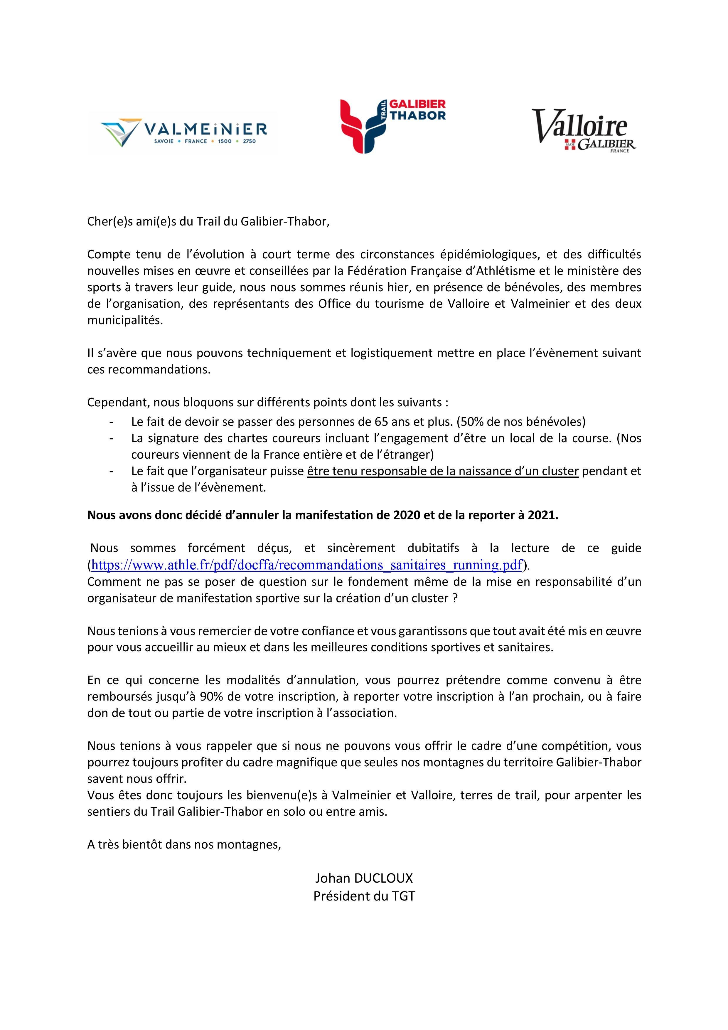 Communiqué annulation Trail du Galibier-Thabor 2020
