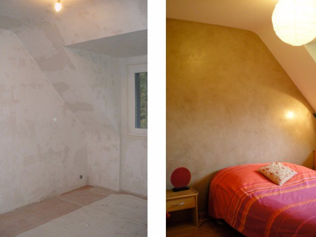 chambre mur la chaux r alisations artisan peintre d corateur nantes de la vie couleur. Black Bedroom Furniture Sets. Home Design Ideas
