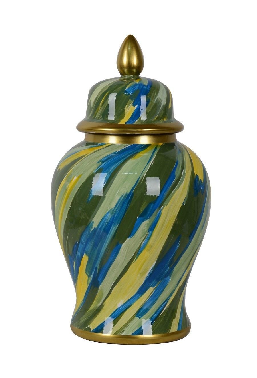 potiche porcelaine bleu:vert.