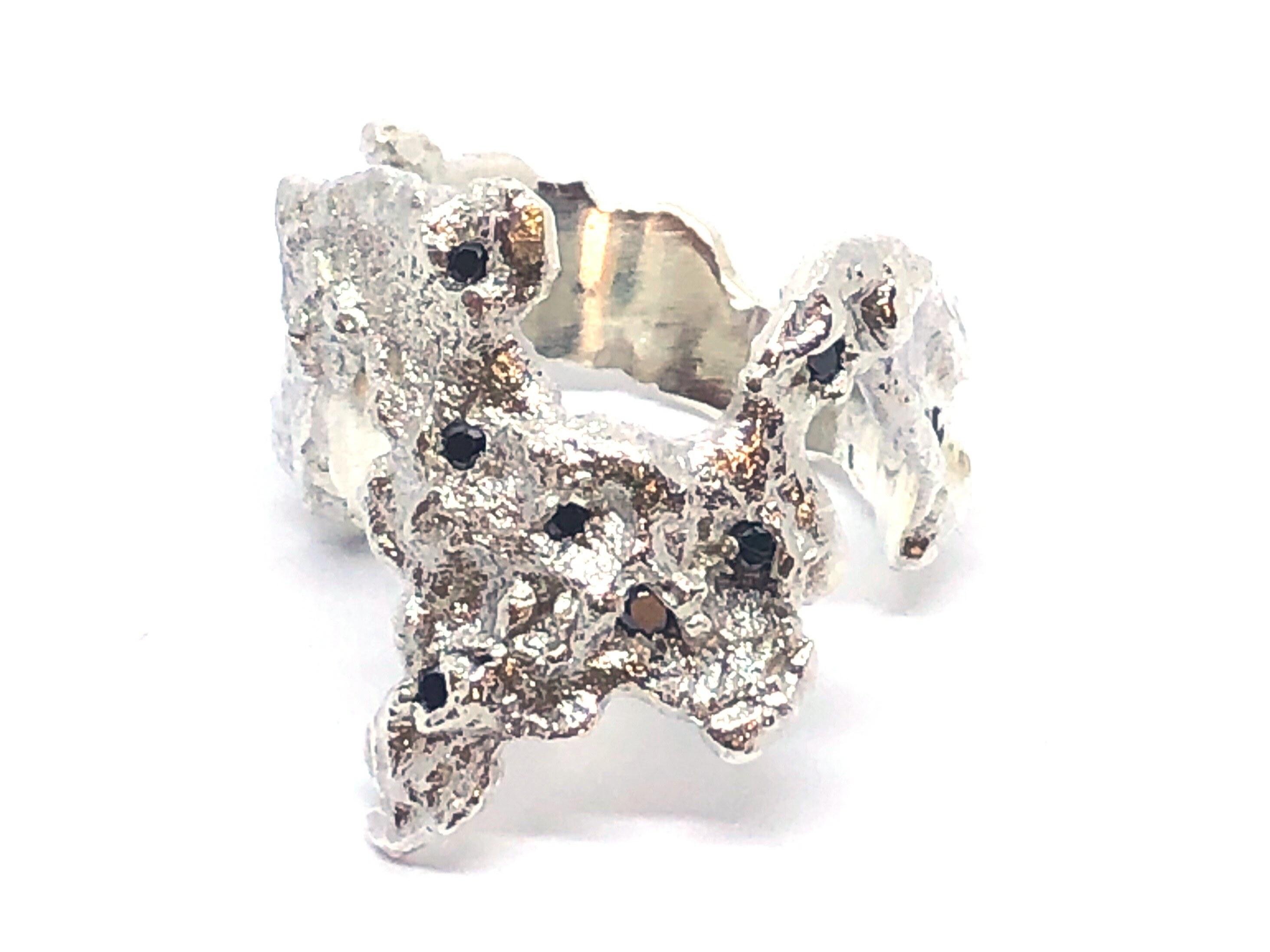 Manjo Bague Destructurée Diamant Noir