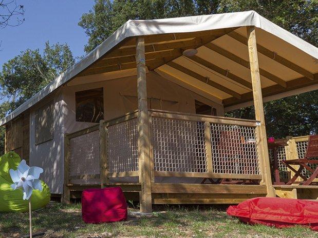 Presentatie van de accommodatie verhuur ecolodge bungalowtent 5 personen nieuw 2016 en 2017 - Tent voor terras ...