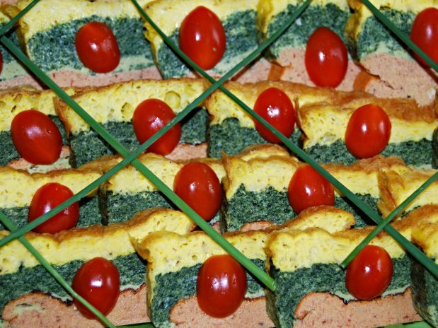 Flan 3 couleurs, sauce crémée ciboulette.