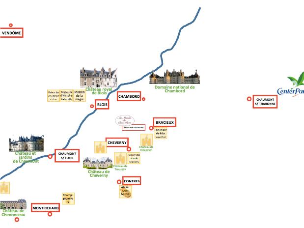 map-carte-chateaux-loire-moulin du bas pezé- montres-chambord- chambord- blois-centerparc bruyeres