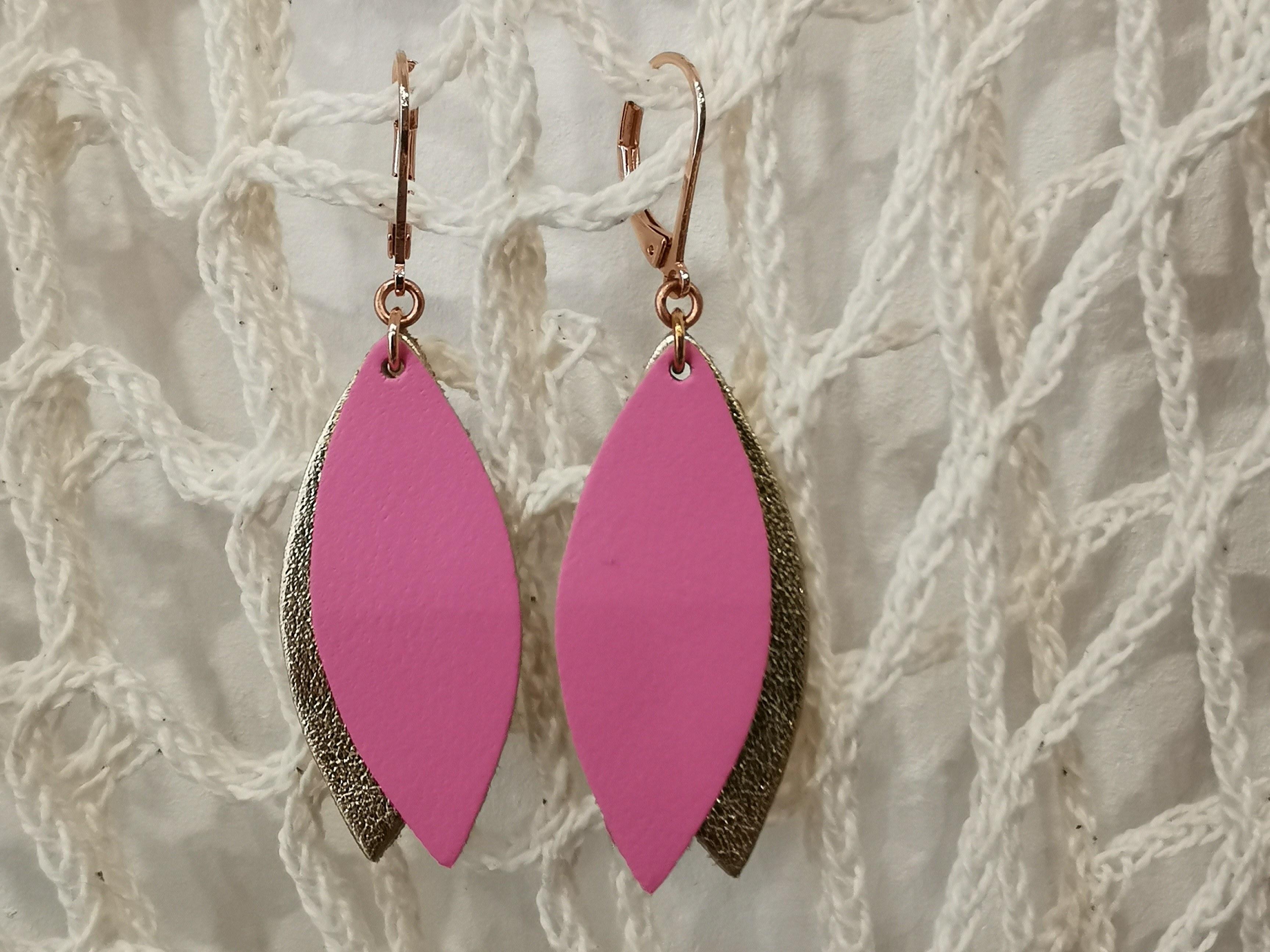 Boucles d'oreilles pétale rose de ni une ni deux