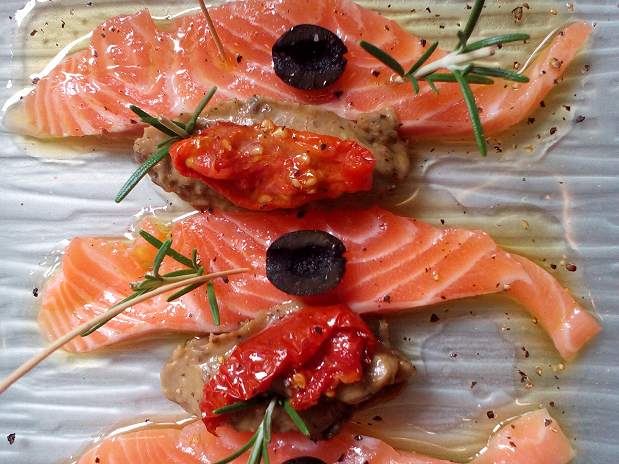 Saumon et caviar d'aubergines
