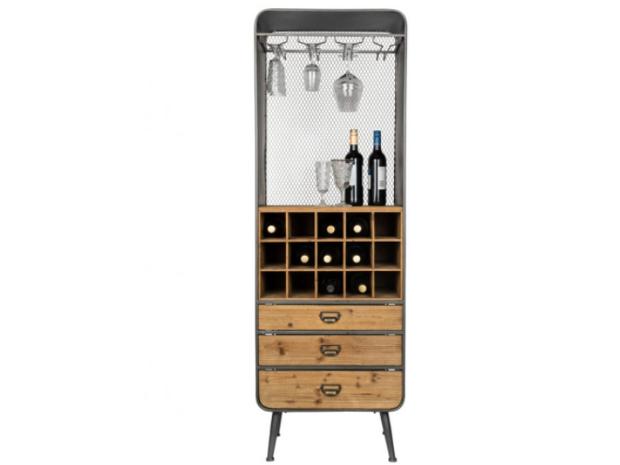 Armoire à vin Bar en bois et acier Vino Cabinet Dutchbone