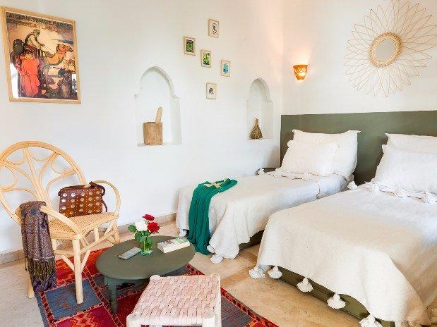 chambre lits jumeaux - riad chamali - medina - marrakech