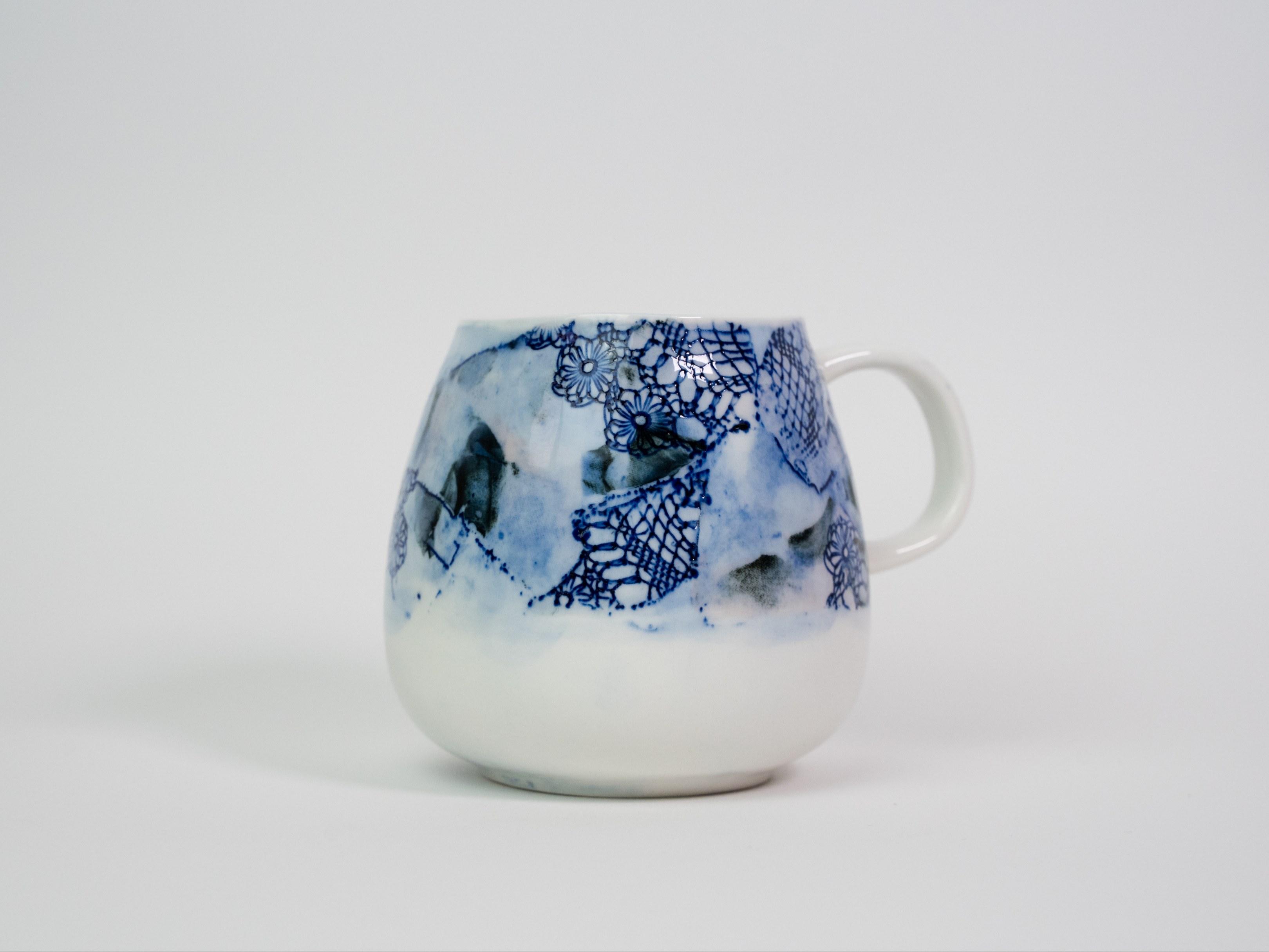 Collection Burano- Tasse anse dentelle colorée- Couleur Bleu A (1)