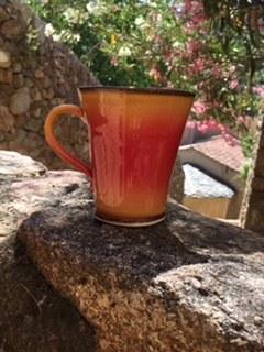 28-Mug jaune flammé rouge