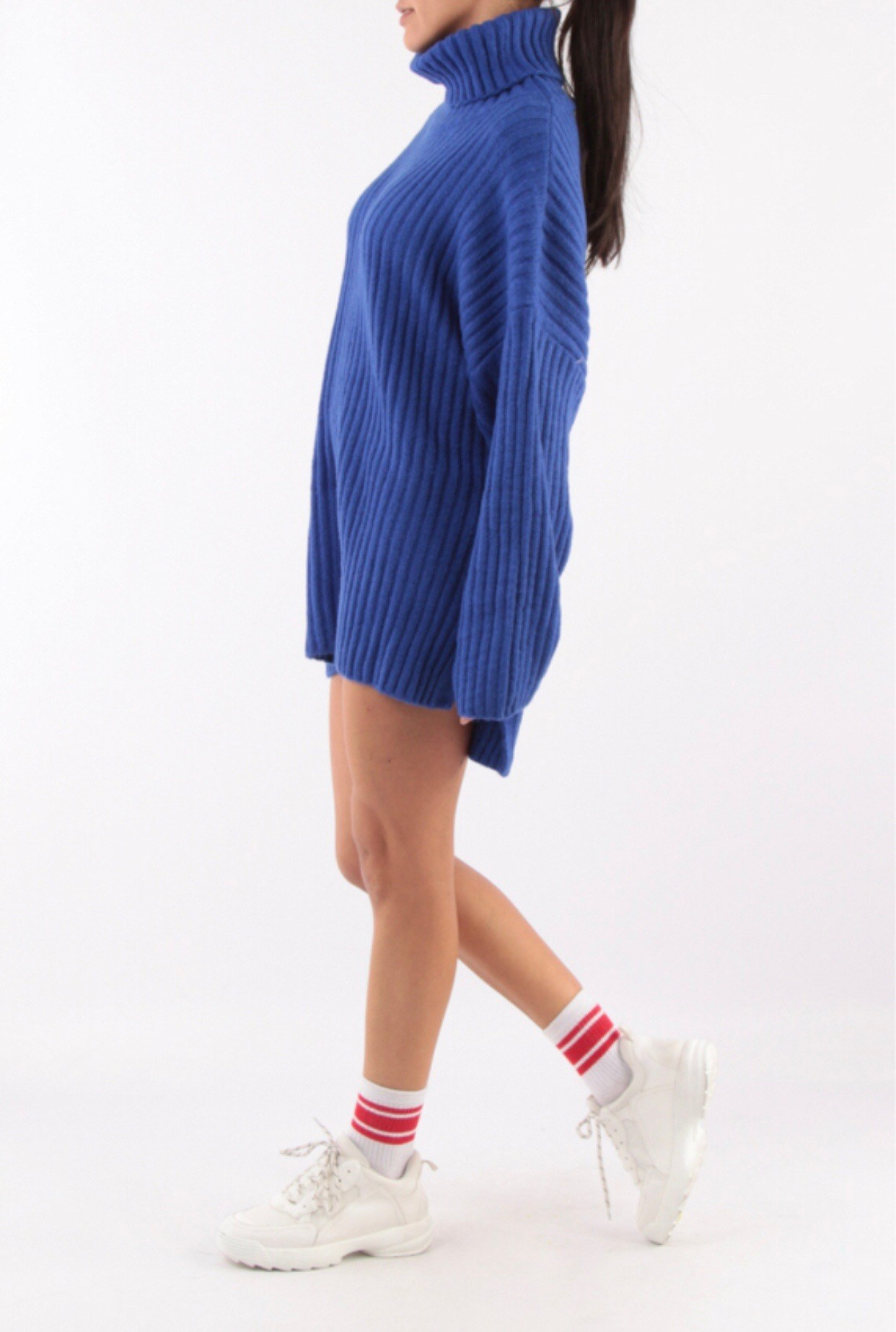 pull robe en maille bleu
