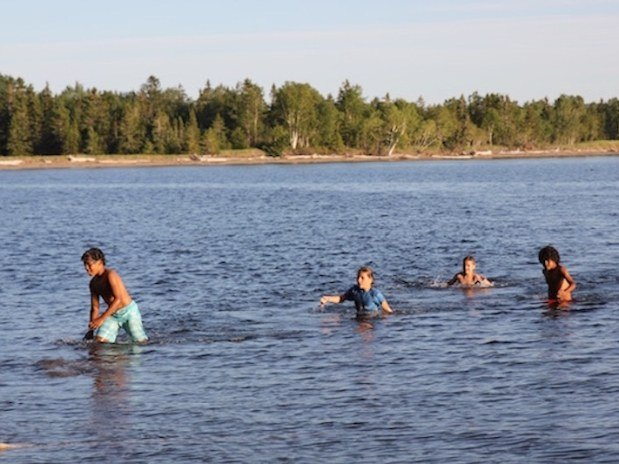 swimming at Gaspe Baie