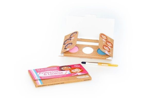 kit de maquillage bio Namaki 3 couleurs Princesse & Licorne - contenu