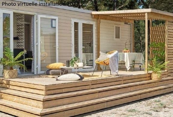 Mobilhome loggia camping familial Isère nature parc aquatique