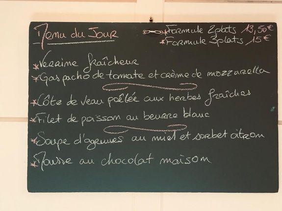 exemple de menu du jour restaurant le monarque blois