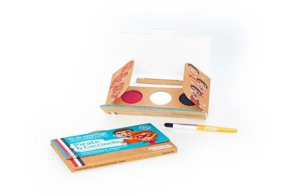 kit de maquillage bio Namaki 3 couleurs Pirate & Coccinelle - contenu