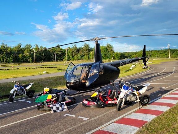 Hélicoptère et karting