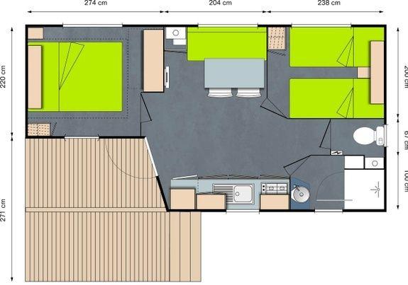 Pavillon Confort (lit superposé chambre enfant en +)