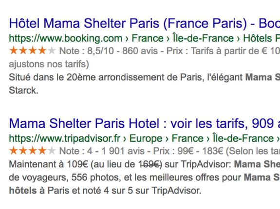 avis clients sur Google rich snippet