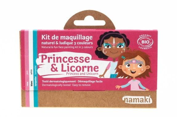 kit de maquillage bio Namaki 3 couleurs Princesse & Licorne - vue face