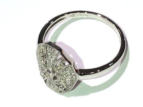 bague place or blanc 750 diamants ovale