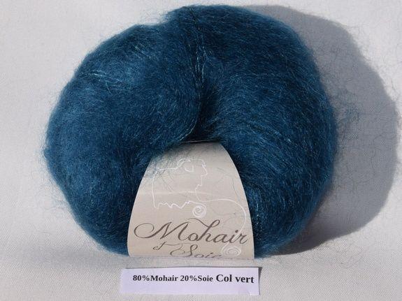 Mohair et Soie Bleu Col Vert du Mohair du pays de Chambord